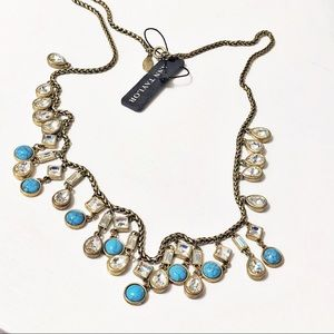 Ann Taylor • Long Crystal & Turquoise Necklace